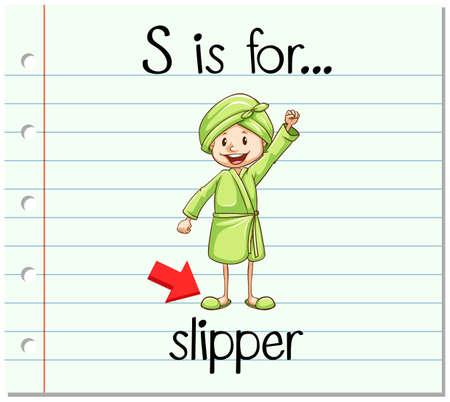 Flashcard letter S is for slipper illustration