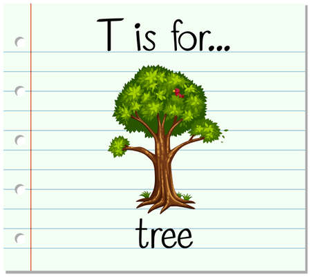 Flashcard letter T is for tree illustration