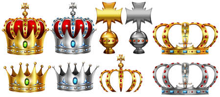 Different design of gold and silver crown illustration