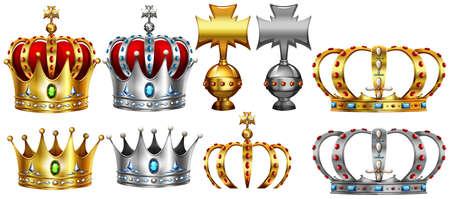 Verschillende ontwerpen van gouden en zilveren kroon illustratie Stock Illustratie