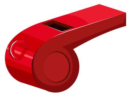 aerophone: Red whistle on white background illustration