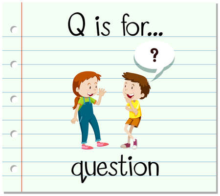 answering: Flashcard letter Q is for question illustration