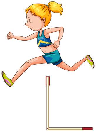 hurdling: Woman athlete jumping over bar illustration