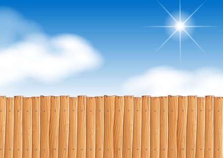 Escena con la valla de madera en la ilustración durante el día