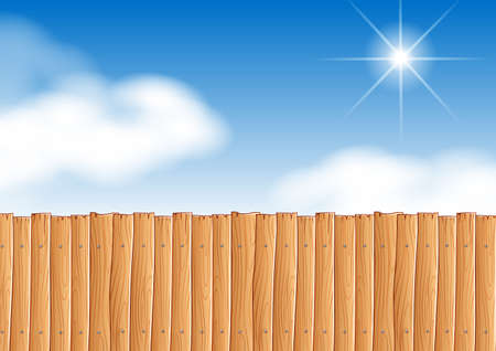 wooden fence: Scene with wooden fence at daytime illustration