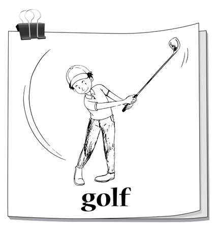 note paper background: Doodle of man playing golf illustration