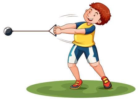 sports track: Athlete doing hammer throw illustration