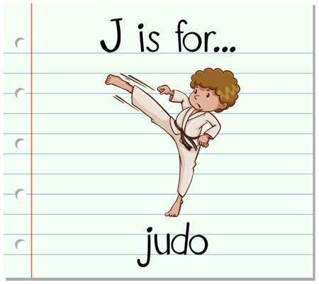 judo: Flashcard letter J is for judo illustration Illustration