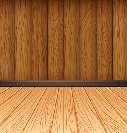 plywood: Wooden wall and wooden tiles illustration Illustration