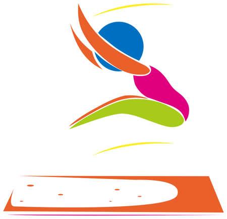 salto de longitud: Icono del deporte de athelte hacer la ilustración larga de salto Vectores