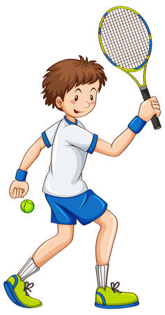 Tennis speler raakt bal met racket illustratie