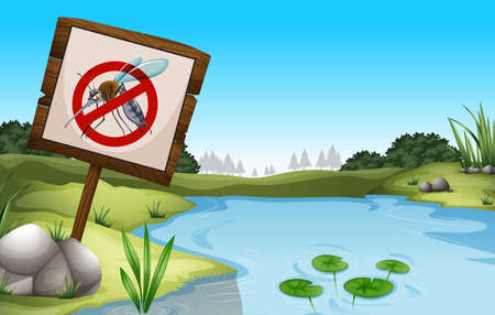 a disease carrier: Scene with pond and sign no mosquitoes illustration