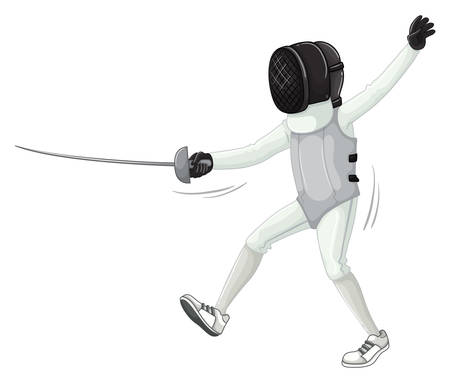 athletes: Athlete in fencing uniform with sword illustration