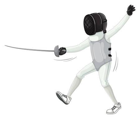 fencing sword: Athlete in fencing uniform with sword illustration