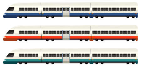railway transportations: Speed train in three colors illustration