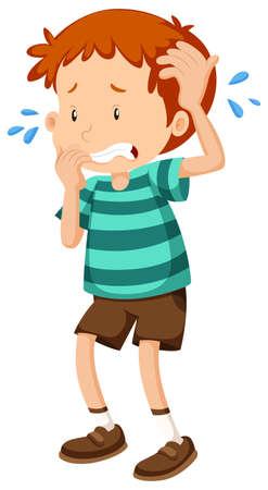 Little boy being nervous illustration
