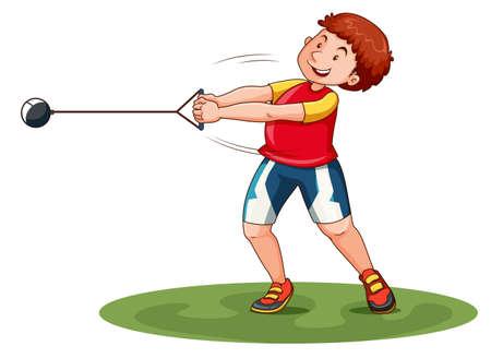 Atleta ponderación de hilatura en el campo de la ilustración