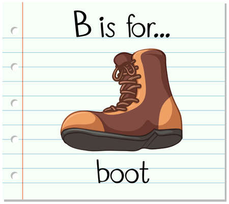 Flashcard letter B is for boot illustration