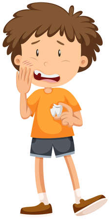 cavities: Little boy having cavity tooth illustration