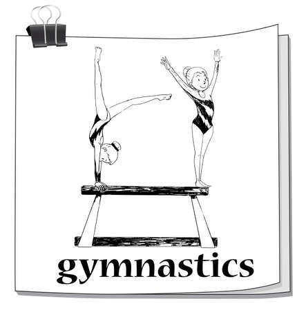art activity: Two women doing gymnastics illustration