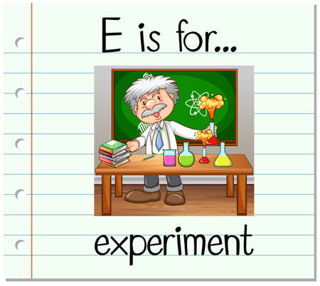 Flashcard letter E is for experiment illustration