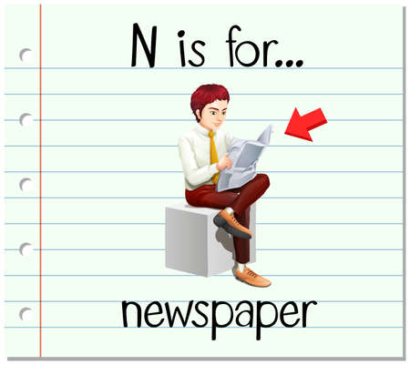 flashes: Flashcard letter N is for newspaper illustration