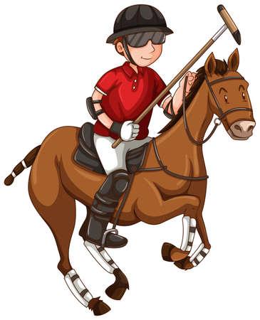Uomo sul cavallo giocare illustrazione polo Vettoriali