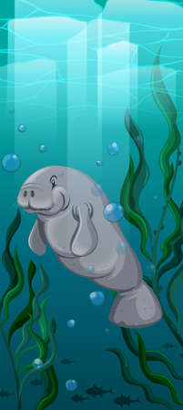 manatee: Manatee swimming under the water illustration