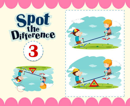 spot the difference: Game template of spot the difference illustration