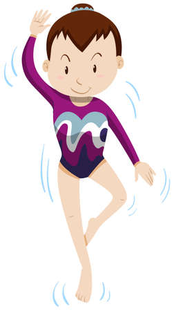 gymnastics: Woman doing gymnastics alone illustration