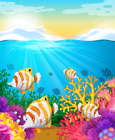 fishes: Scene with fish under the ocean illustration