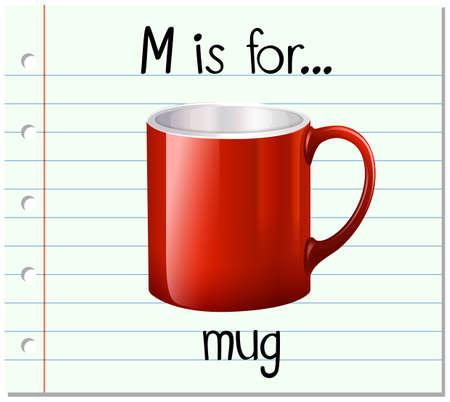 Flashcard letter M is voor mok illustratie