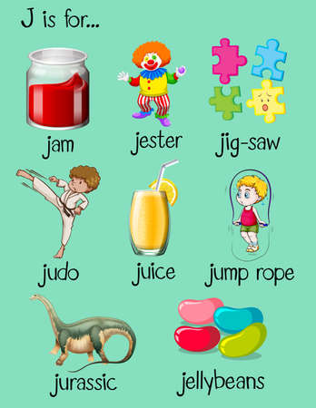 Different words begin with letter J illustration Illustration