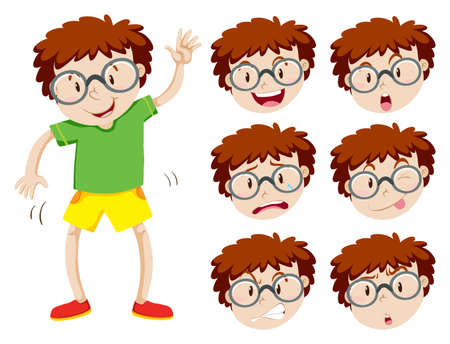 weep: Boy with many facial expressions illustration