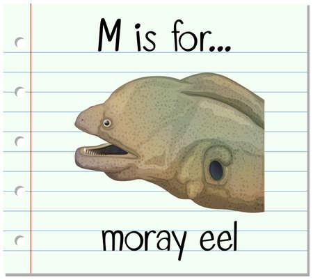eel: Flashcard letter M is for moray eel illustration