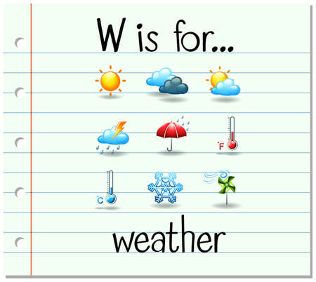 phonetics: Flashcard letter W is for weather illustration Illustration