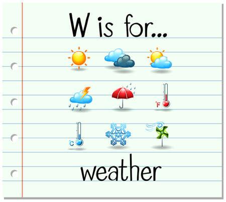 Flash Buchstaben W ist für die Wetter Illustration