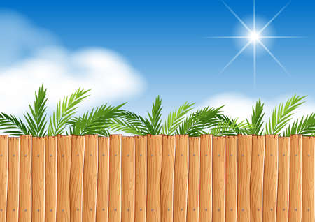 wooden fence: Scene with wooden fence and tree illustration