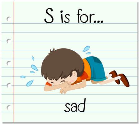 kid s illustration: Flashcard letter S is for sad illustration Illustration