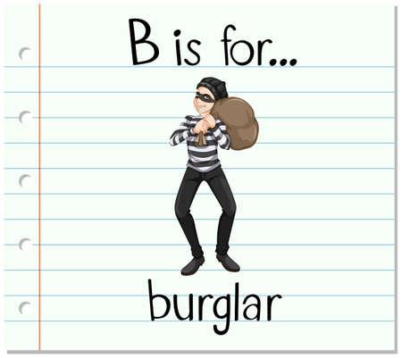 Flashcard letter B is for burglar illustration Illustration