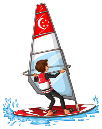 windsurf: Man sailing on the water illustration Illustration