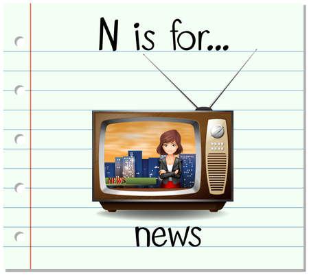 news letter: Flashcard letter N is for news illustration