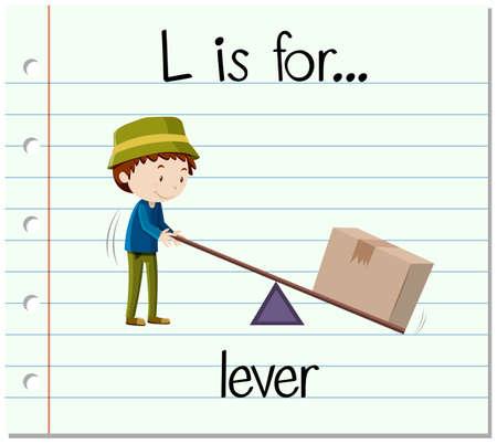 Flashcard letter L is for lever illustration