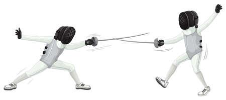 fencing sword: Two people doing fencing illustration Illustration