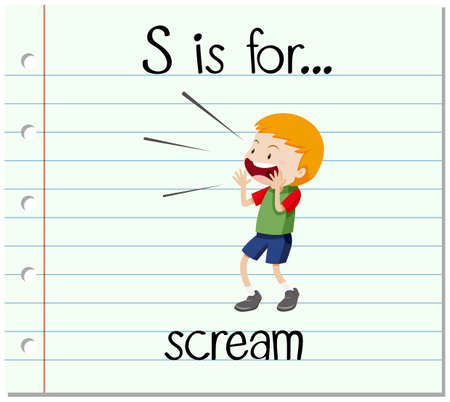 Flashcard letter S is for scream illustration