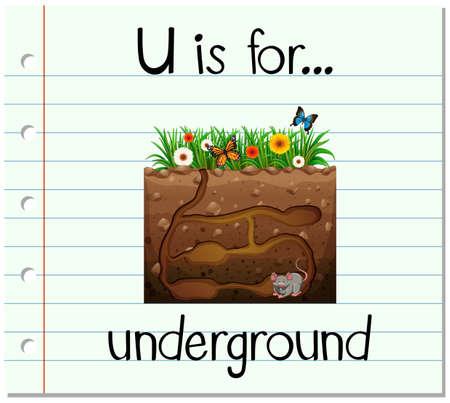 flash card: Flashcard letter U is for underground illustration Illustration
