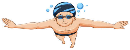 goggles: Swimmer wearing cap and goggles illustration