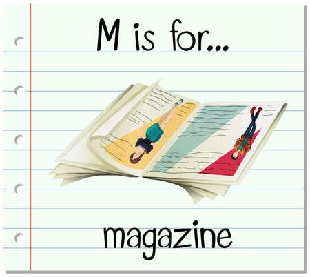 magazine: Flashcard letter M is for magazine illustration Illustration