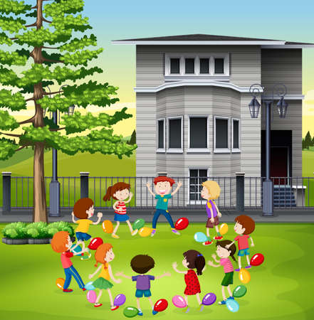 outside the house: Children playing balloon popping in the park illustration