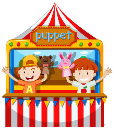 adolescent: Boys playing puppet on stage illustration Illustration